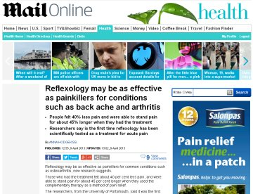 Reflexology as effective as painkillers