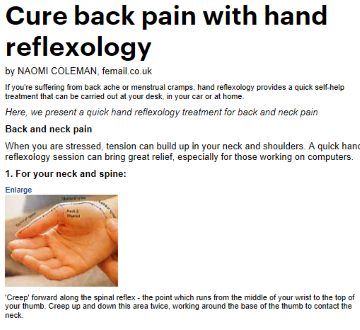 cure back pain with hand reflexology